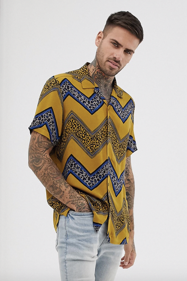 edac506a25b8 ASOS DESIGN regular fit shirt with chevron leopard print stripe #ad (men,  mens, fashion, style, clothes, clothing, shopping, outfit, trends, ...