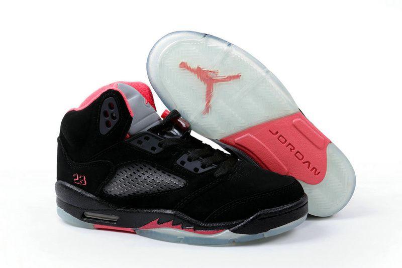 Air Jordan Women Shoes Women's Air Jordan 5 Black Pink Grey [Women's Air Jordan  5 - Featuring a whole black suede upper, this Women's Air Jordan 5 Black ...