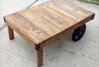 Wood Pallet Coffee Table On Wheels