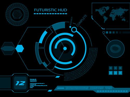 Futuristic HUD Interface Tech Background Vector 03