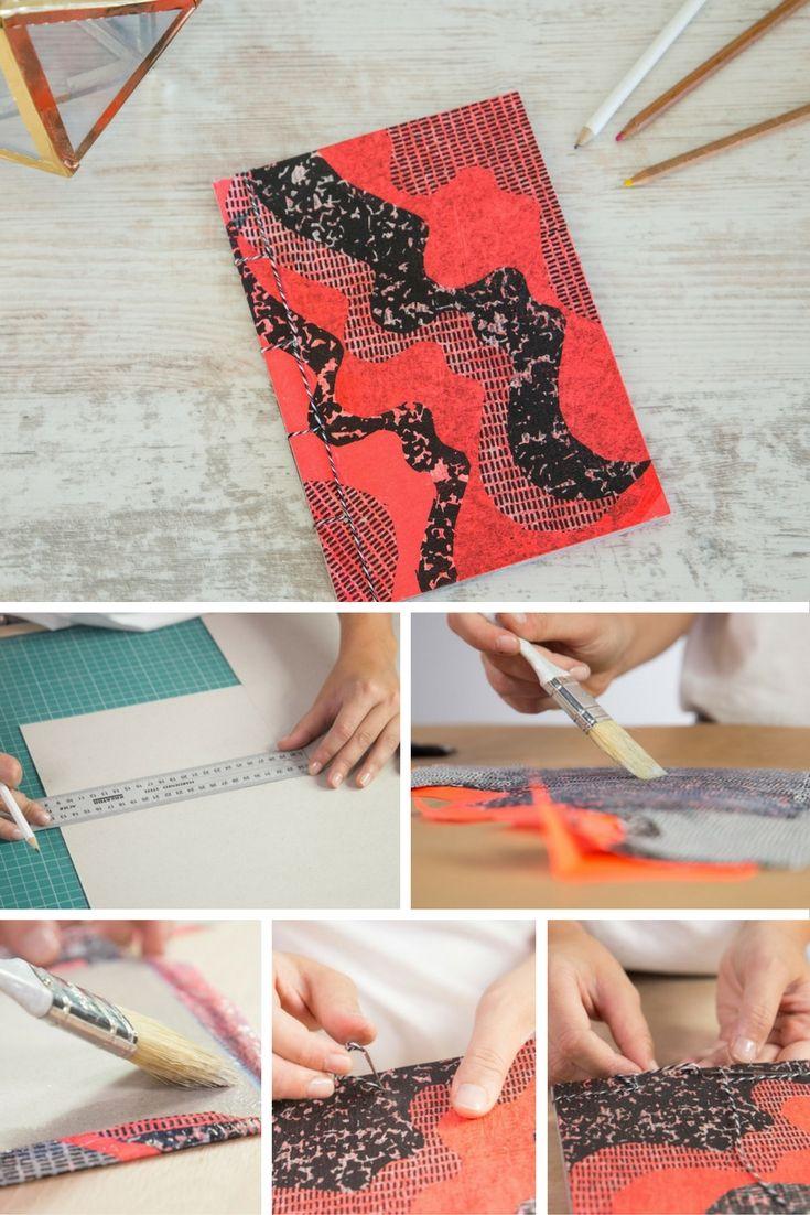 Cómo hacer una libreta con encuadernación japonesa  ➜ Crea paso a paso tu propio cuaderno handmade decorado con decoupage.   #DIY #Manualidades #Handmade #Cuaderno #Libreta #Decoupage #Encuadernación #Japonesa