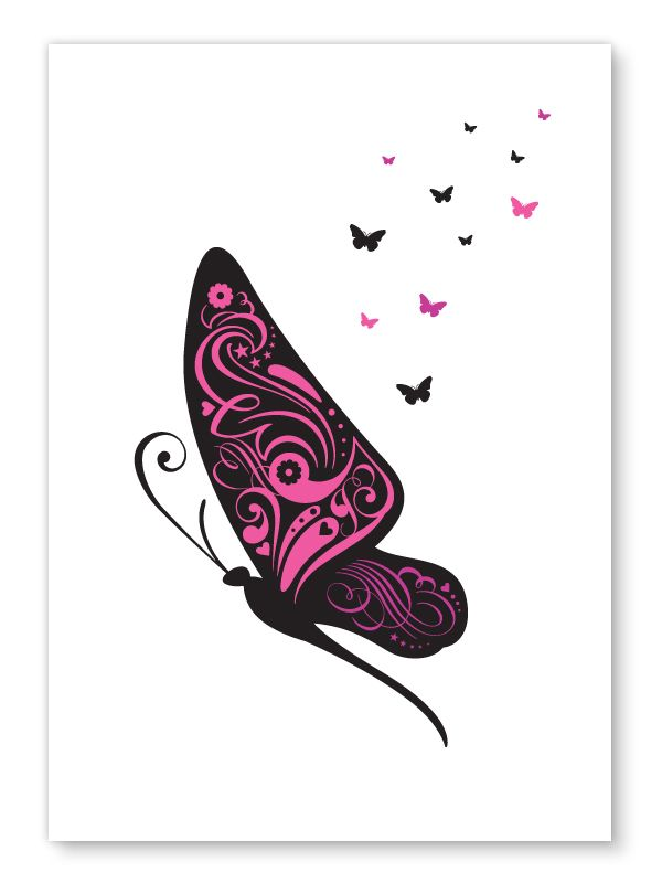 Image of Butterflies print in Blue, Pink or Yellow - A4