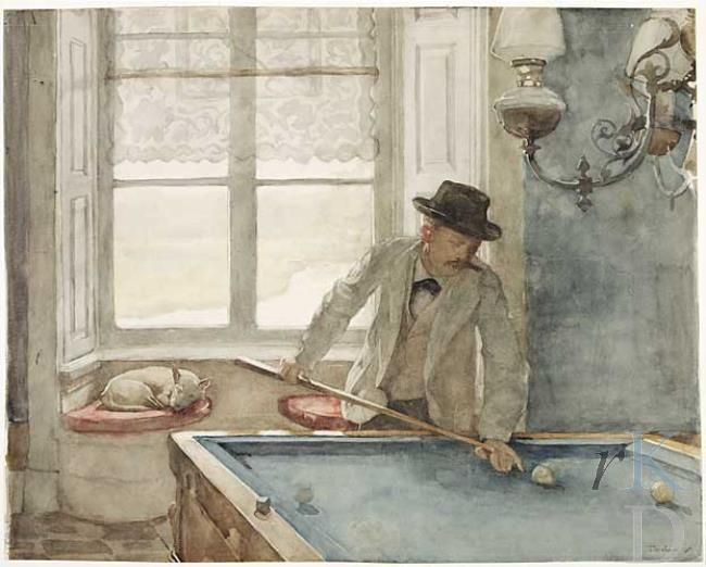 """Piet Meiners, """"Billiard Saloon Ewijkshove, Willem Bastiaan Tholen"""", 1896, Dutch, 1860-1931"""