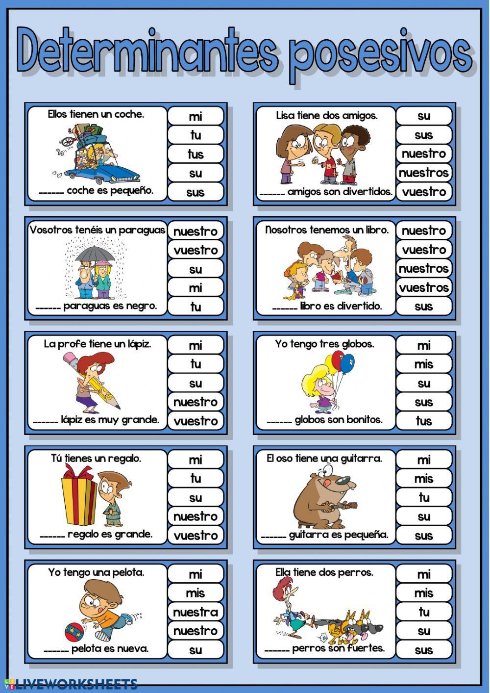 Determinantes Posesivos Interactive Worksheet Posesivos En Ingles Adjetivo Posesivo Pronombres Demostrativos En Ingles