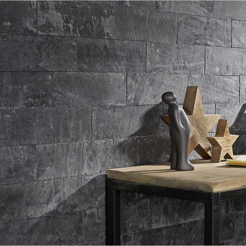 plaquette de parement pierre naturelle noir plume salon. Black Bedroom Furniture Sets. Home Design Ideas