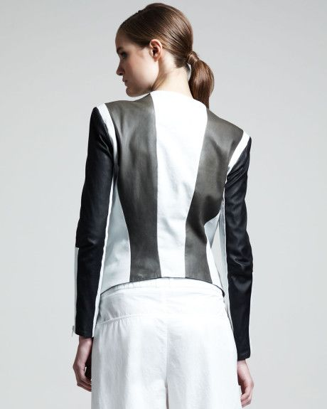 Teen Blossom Helmut Lang Pax Colorblock Leather Jacket in White (mollusk) - Lyst