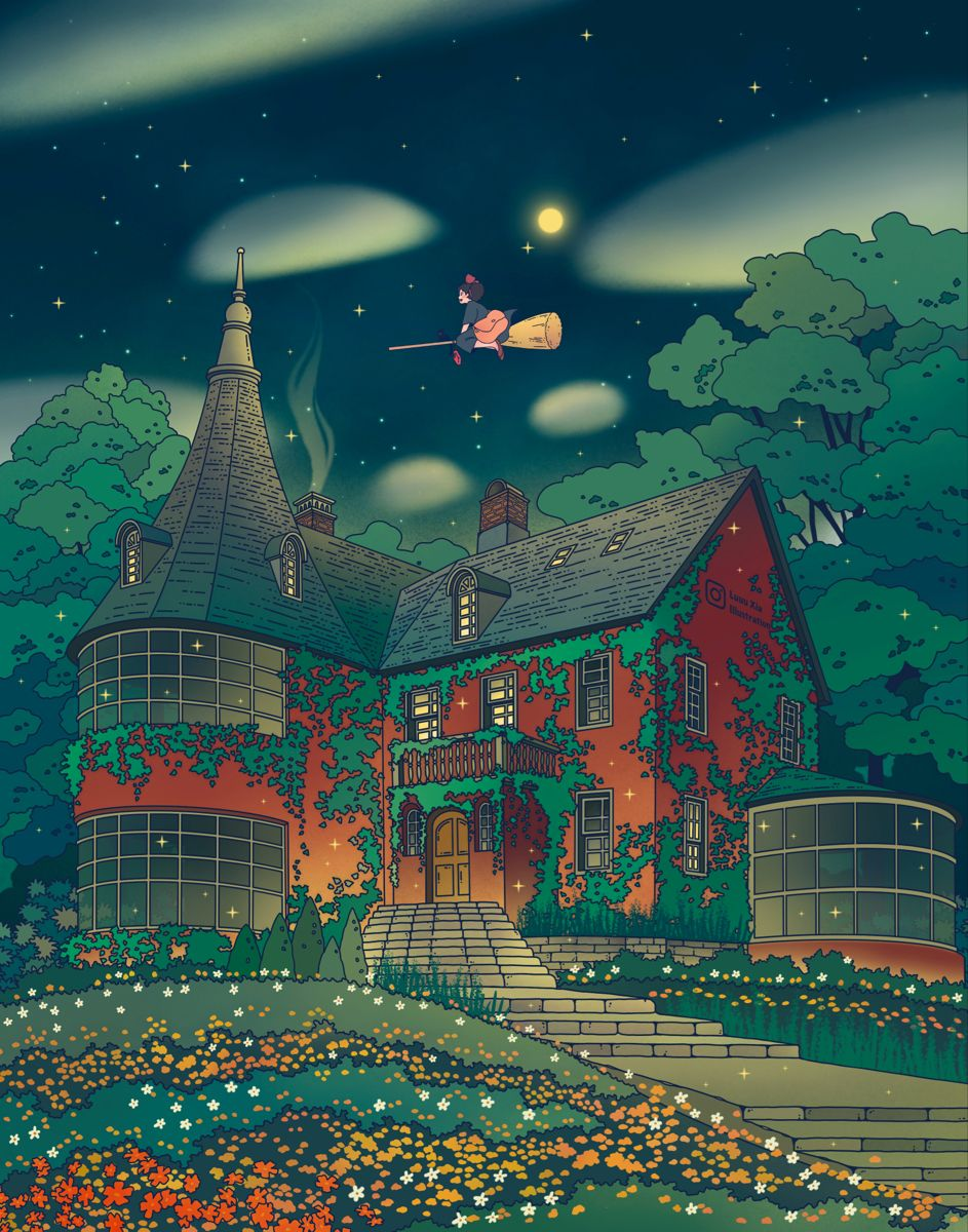 A Starry Night Out Art Print By Luuuxia In 2021 All Studio Ghibli Movies Studio Ghibli Studio Ghibli Fanart