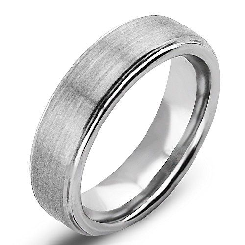 tungsten polished carbide rings amazon ring fit comfort wedding with com and durable lightweight hammered raised finish dp winston edges step white