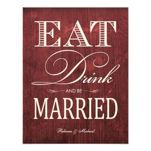 ReviewEat Drink and be Married - Red Wood-grain AnnouncementThis site is will advise you where to buy