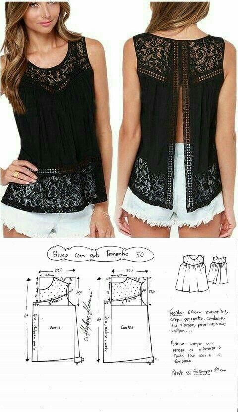Patrón de blusa sin mangas T.50 | Corte y Confección | Pinterest ...