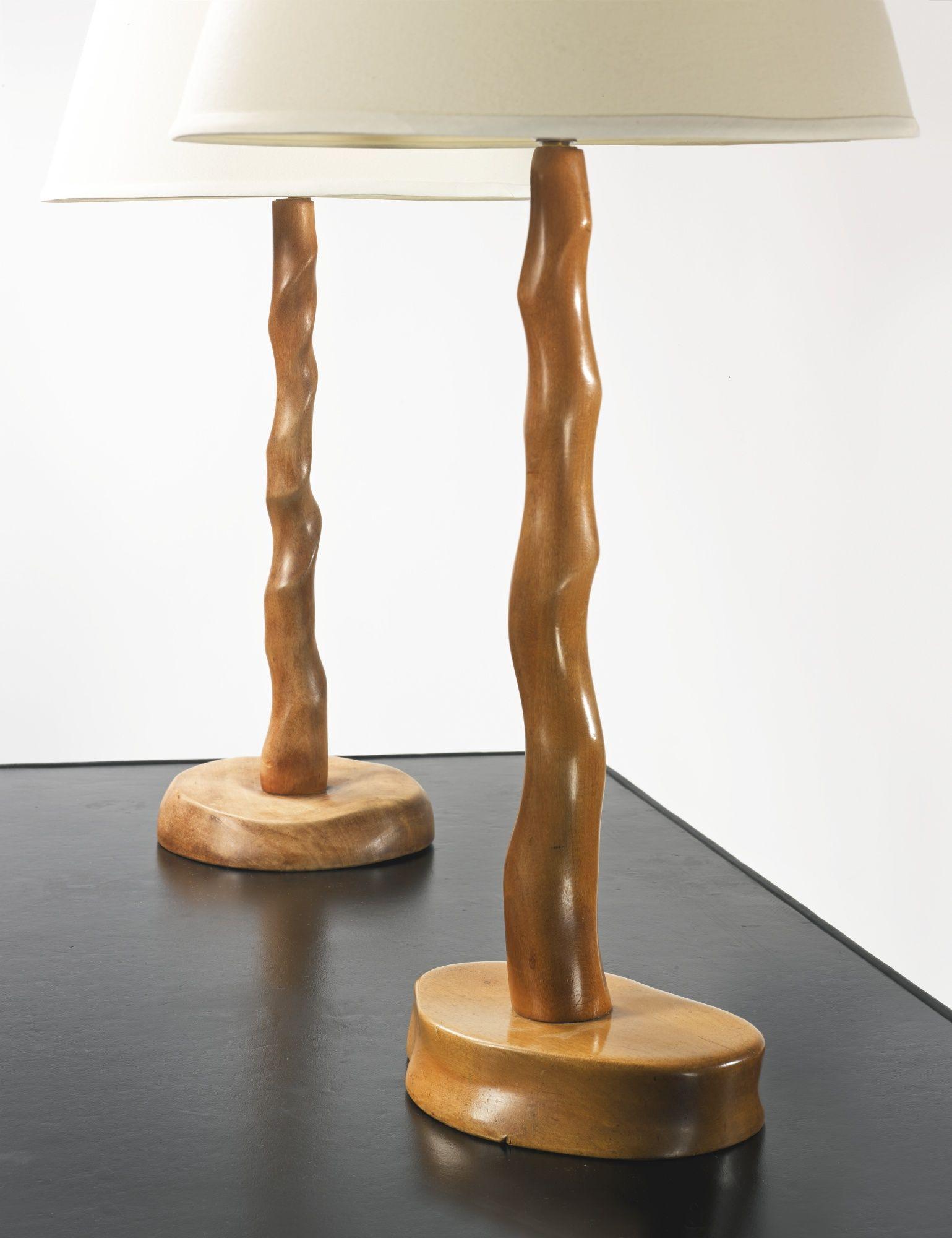 Alexandre noll mahogany table lamps c1950 surface lighted alexandre noll mahogany table lamps c1950 geotapseo Choice Image