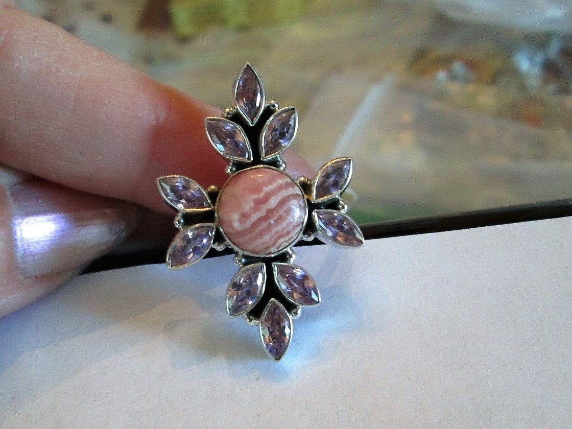 RING  -  Argentina -   Rhodochrosite -Pink  -  KUNZITE  -   - 925 - Sterling Silver  - size 8 3/4   pink102 by MOONCHILD111 on Etsy