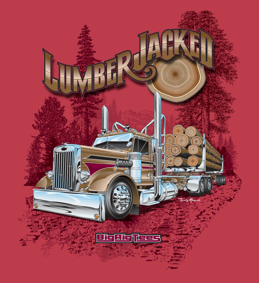 cc6d7b7b6 T-shirt design for BRT's retail line of T-shirts. Peterbilt 281 needle nose day  cab with logging trailer.