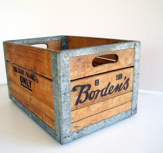 Vintage Industrial Borden Dairy Metal Wood Crate Crates