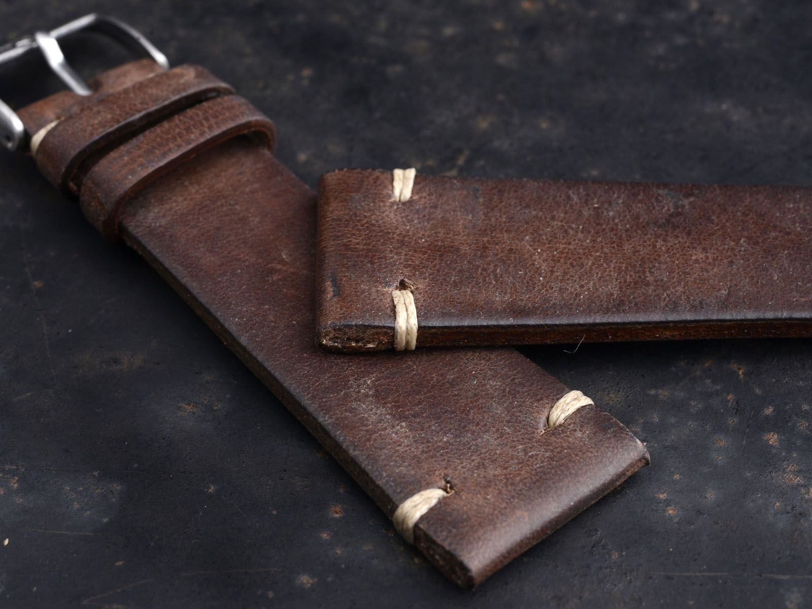 B&S 'Chestnut' Vintage Dark Brown Leather Watch Strap 22 mm