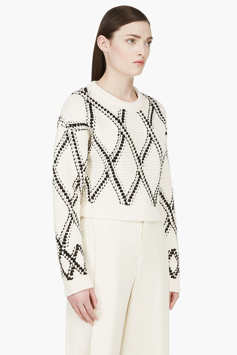 PROENZA SCHOULER Cream & Black Handwoven Cropped Sweater | Knits ...