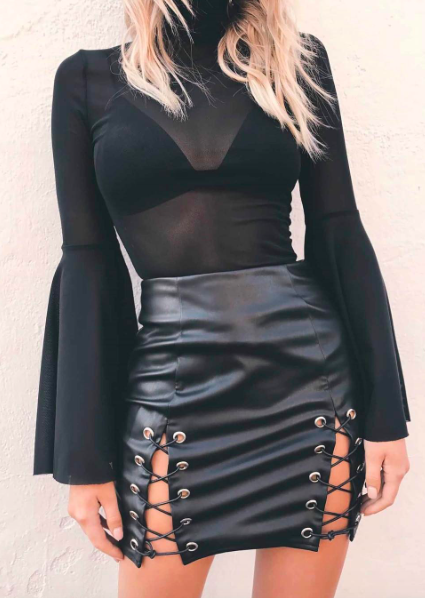 ZANZEA Women Split Hem Pencil Skirts Club Party Bodycon Skirts Pu Leather Skirts