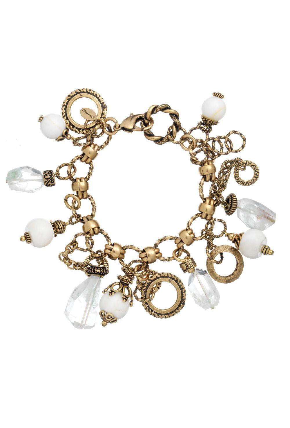 White agate and quartz  gold chain bracelet
