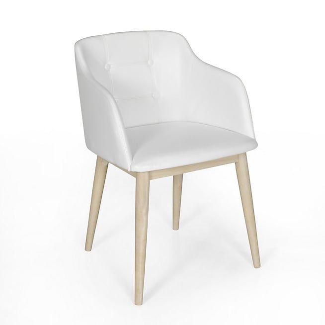 Cork Chaise capitonnée avec accoudoirs en simili cuir blanc