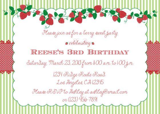 Strawberry Shortcake party invite idea Birthday Pinterest