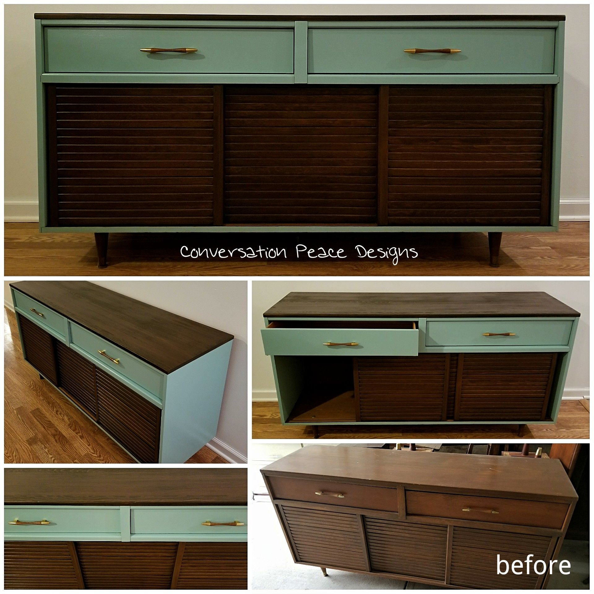 Mcm, Mid Century Modern Buffet, Sideboard, Hand Painted & Refinished #