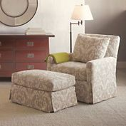 Miranda Taupe Chair & Ottoman  Gumps.com  Perfect Reading Chair & love the Ikat.