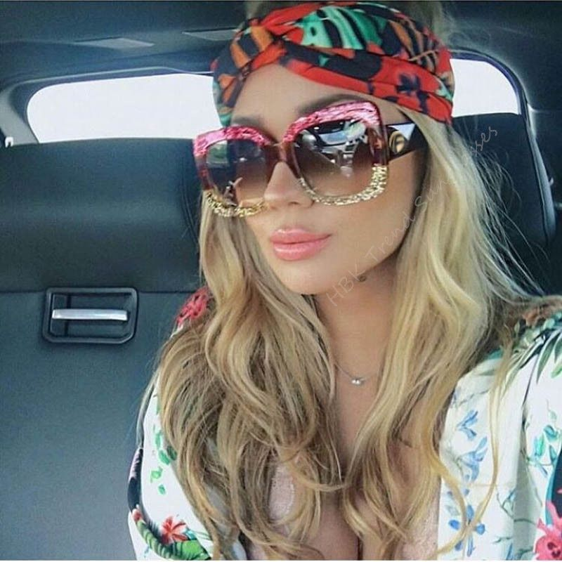 66087e92bf6d HBK Luxury Italy Brand Oversized Square Sunglasses Women Retro Brand  Designer Big Frame Sun Glasses Female Green Red oculos 2018
