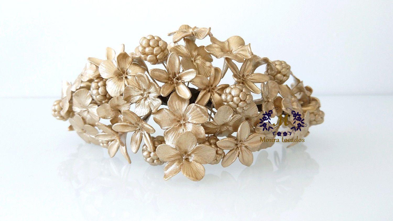 Brutal encuesta Prescripción  Tiara dorada de novia Tocado dorado Tocado de flores   Etsy   Headpiece  jewelry, Bride headpiece, Jewelry