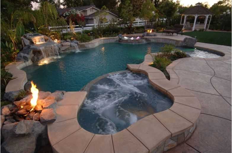 Tropical Inground Pool With A Hot Tub And Waterfall Waterfalls