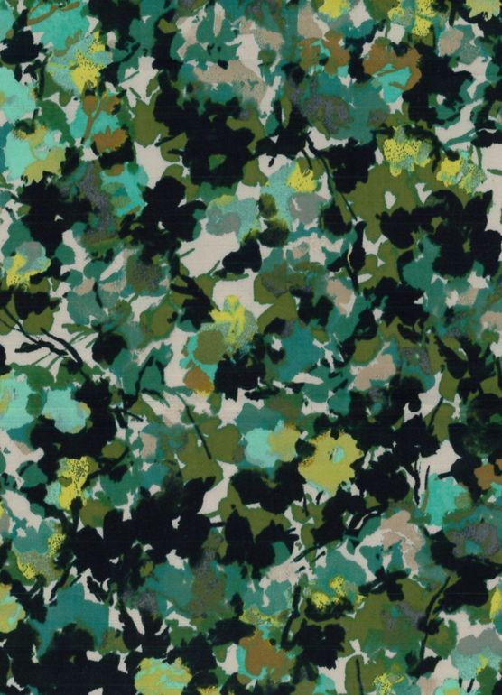Fashion Bottomweights- Floral Camo Olive Cotton Spandex Sateen