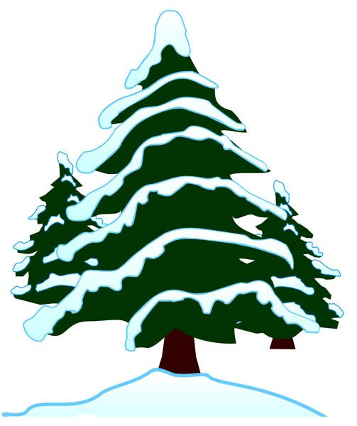 Snow tree. Covered clipart kid christmas