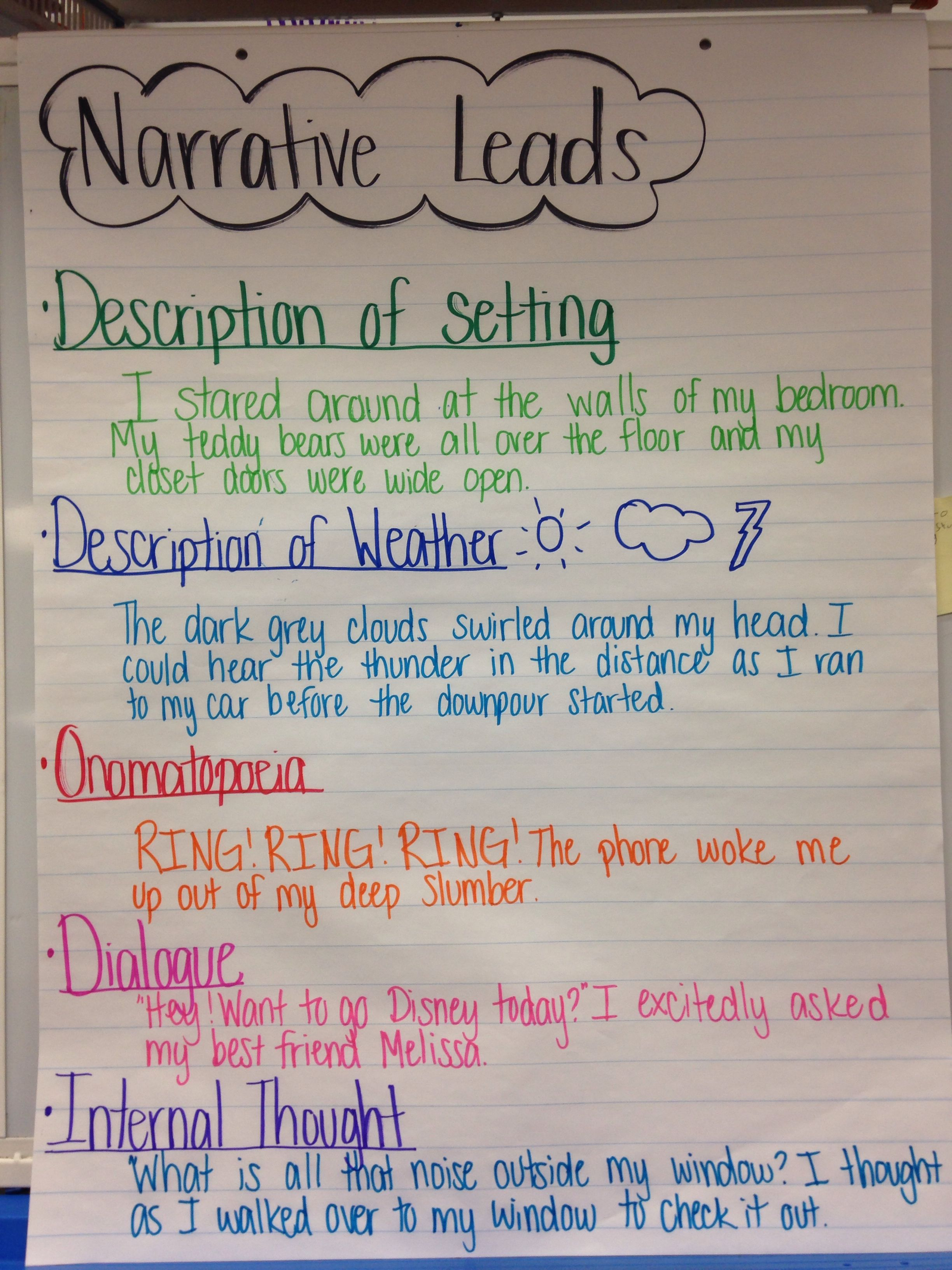 Narrative leads examples given anchor chart personal writing charts also my pinterest rh