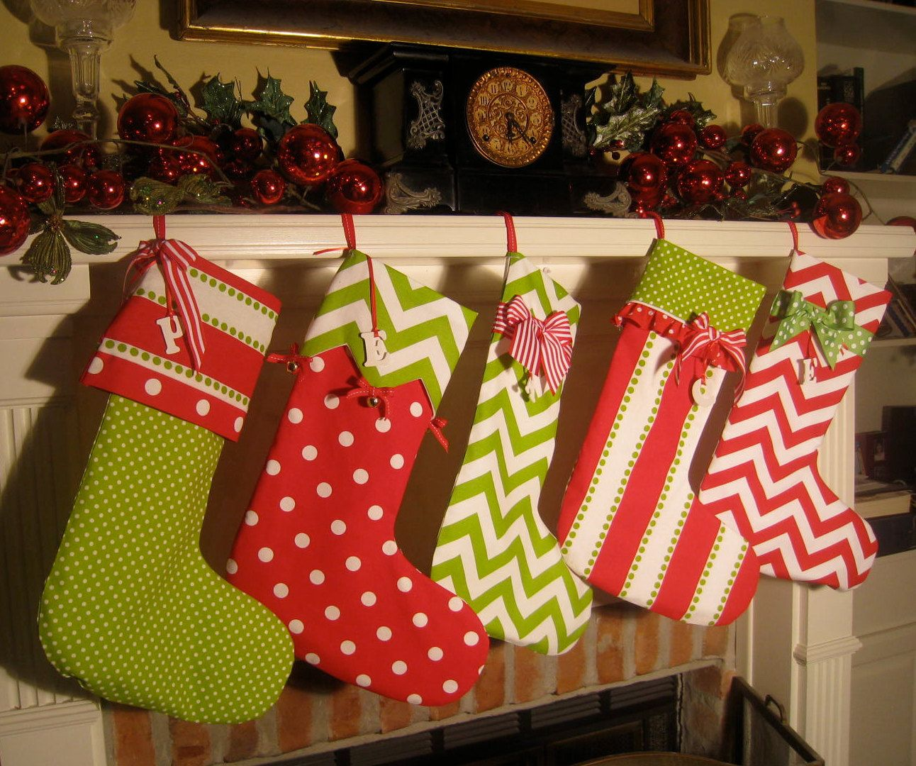 4 Christmas Stockings Personalized In Bright Red And Green Cotton 100 00 Via Etsy