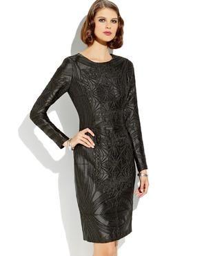 VERA WANG Long Sleeve Textured Dress