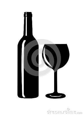 Silhouette De Bouteille Et En Verre Vin