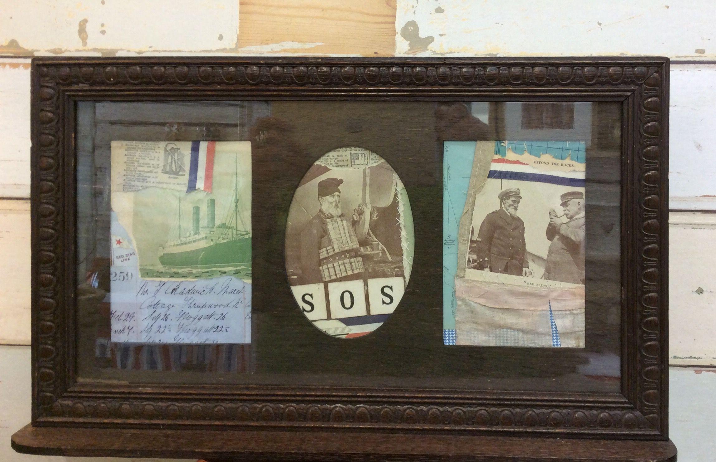 Collaged artwork in vintage frame. Jacs Collins www.ruralretro.co.uk ...