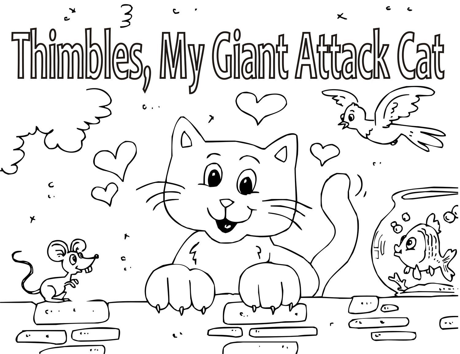 Coloring Book For Kids Storybook Thimbles The Giant Attack Cat Kids Story Books Coloring Books Storybook