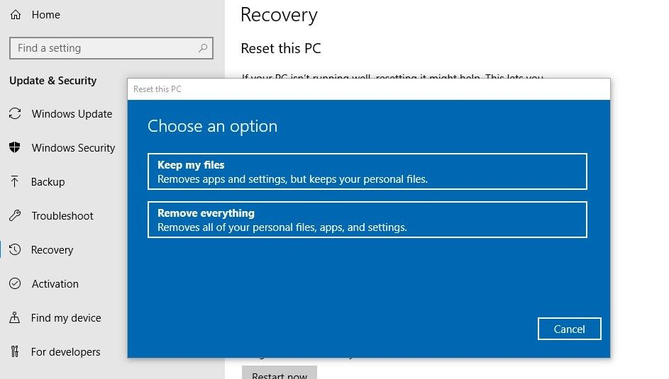How to Refresh Windows 10 version 1909 without losing data
