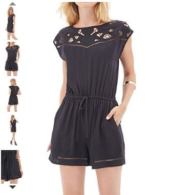 Embroidered cap sleeve romper