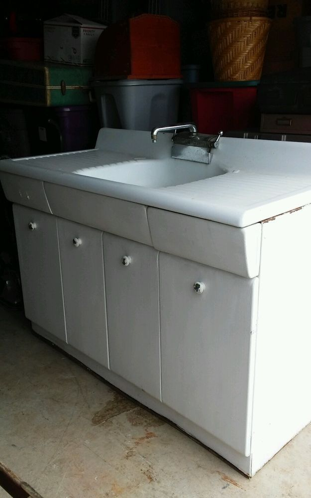 Architectural Salvage 50 S American Kitchen 54 Porcelain Sink Metal Cabinet