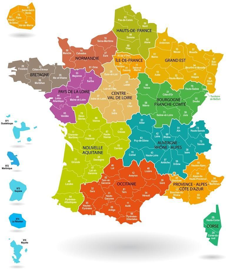 Kaart Departementen Frankrijk Frankrijk