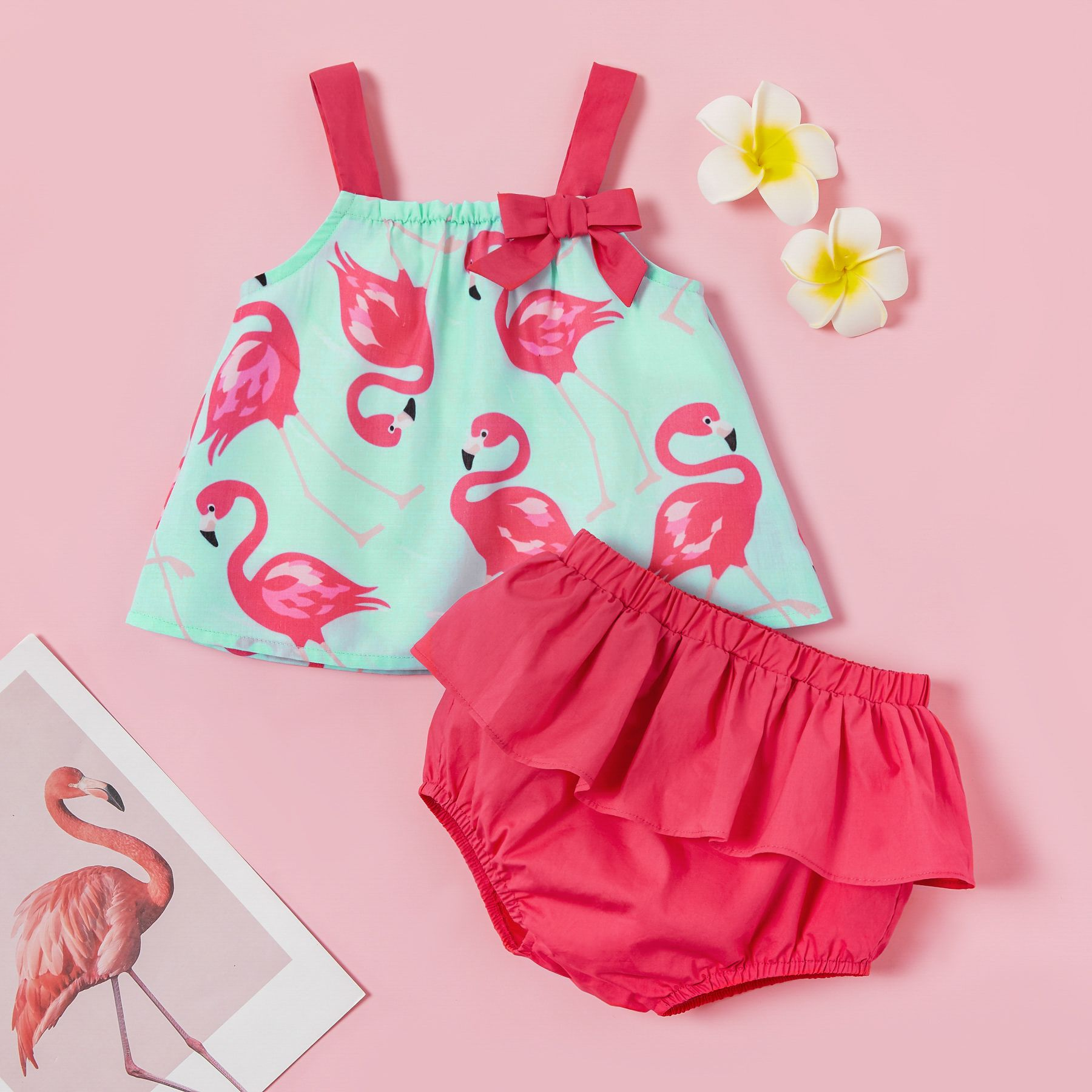 Baby Toddler Pretty Flamingo Print Strappy Top and Layered