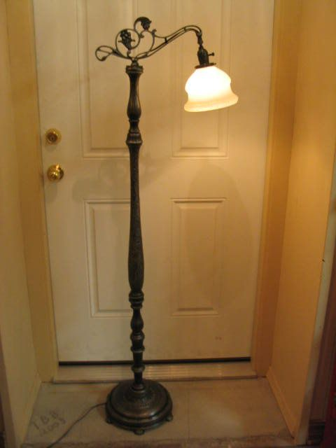 Bridge Arm Floor Lamp 1930 S Cast Iron Wood Rustic