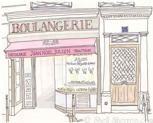 Paris boulangerie illustration julien patisserie bakery - Dessin boulangerie patisserie ...