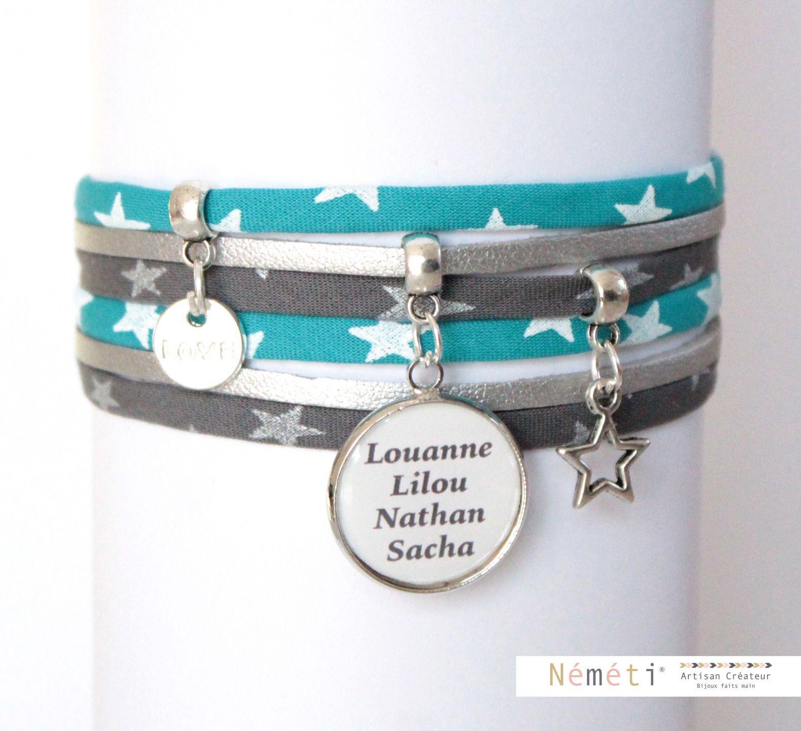 Bracelet liberty étoiles bleu gris et suédine argenté aspect cuir - cabochon médaille prénom personnalisable