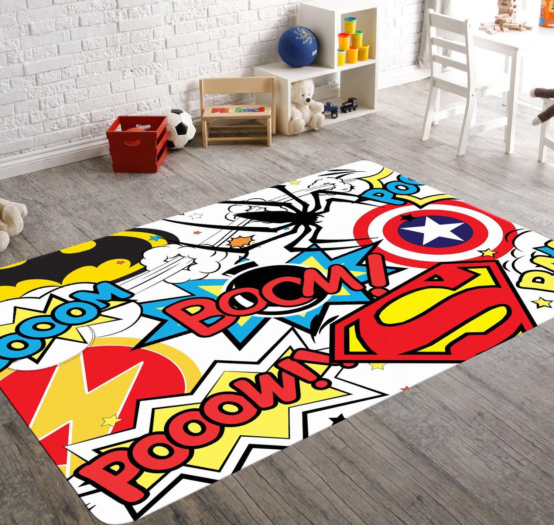 Superhero Rug, Playroom Rug, Superhero Room Decor, Kids Playroom Decor,  Geek Home