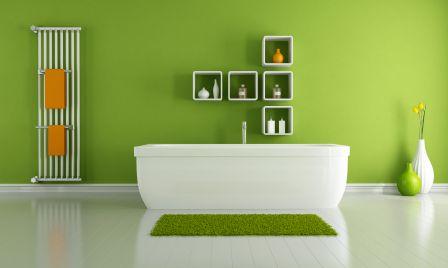 Farbgestaltung badezimmer ~ Badezimmer in frischem apfel grün grün farbe der harmonie