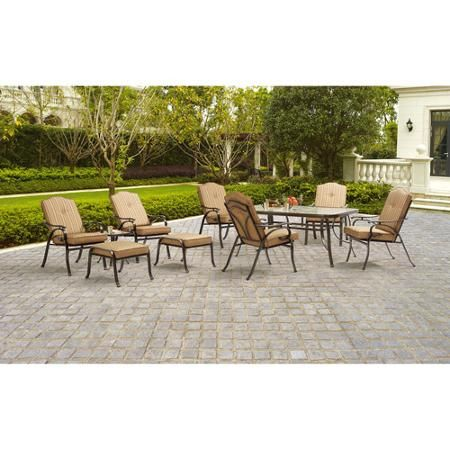 Mainstays Woodacre 10Piece Patio Dining and Leisure Set Tan