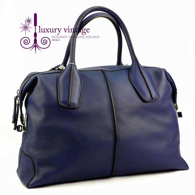 TOd's D Bag Large Navy Blue Color Leather Good Condition  Ref.code-(KELC-18) More Information Pls Email  (- luxuryvintagekl@ gmail.com )