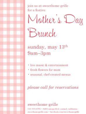 MotherS Day Promo Mothersday Flyer Brunch Event Spring Pink